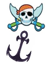pirate, skull, swords, anchor tattoo design